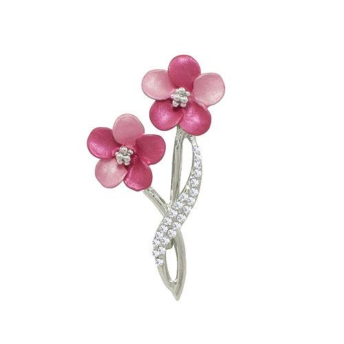 bh37-170-anemone-fuchsia-pink-enamel-clear-crystal-silver-tone-brooch