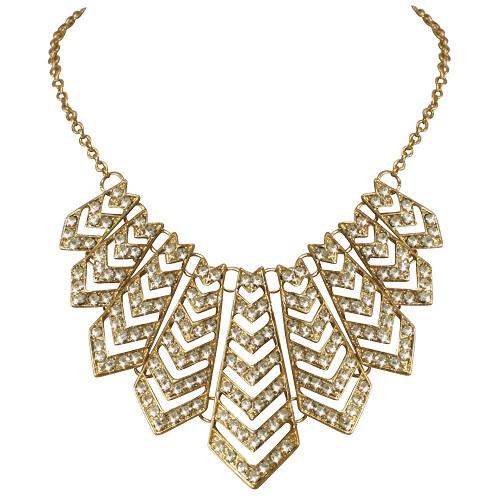 Deco Dazzle Gold Tone Diamante Statement Necklace £28