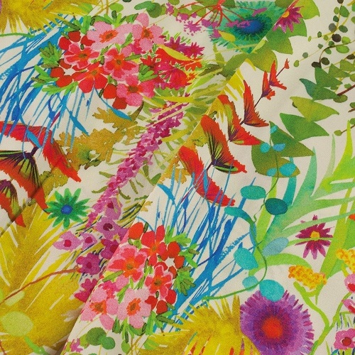 Tropical Sunrise Liberty Print Pure Satin Silk Infinity Scarf with Magnetic Closure £58