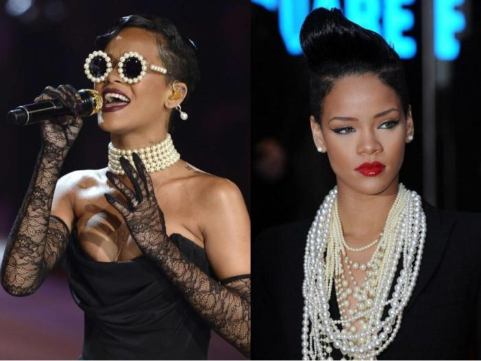 rihanna pearl necklaces