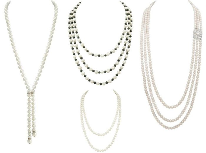 pearl necklaces layered