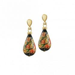 Genoa Millefiori Black Venetian Murano Glass Drop Clip On Earrings