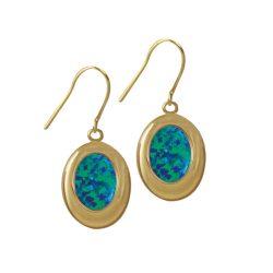 Idaho Dark Blue Opal Gold Tone Drop Pierced Earrings (MM)