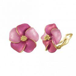 Pansy Fuchsia Enamel Gold Tone Stud Clip On Earrings