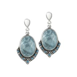 Santa Fe Blue Howlite and Swarovski Crystal Silver Tone Drop Clip On Earrings