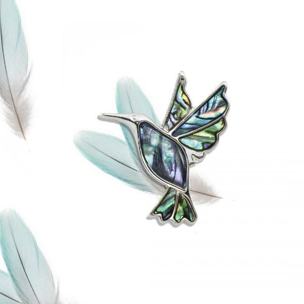 Nectar the Hummingbird Paua Shell Silver Tone Bird Brooch