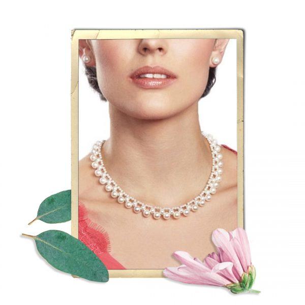 Versailles White South Sea Shell Pearl Silver Tone Necklace
