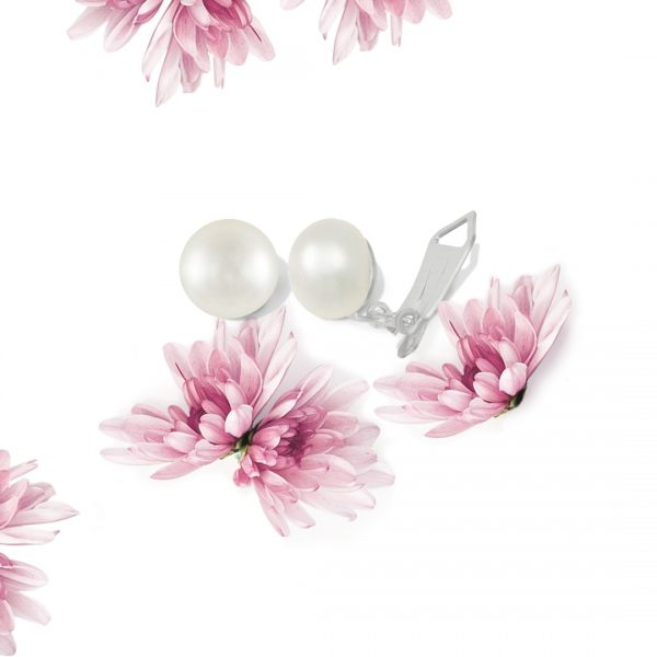 Superior AAA White Freshwater Pearl Sterling Silver Stud Clip On Earring