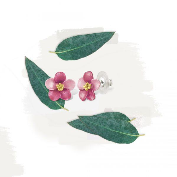 Anemone Fuchsia Pink Stud Enamel Gold Tone Pierced Earrings