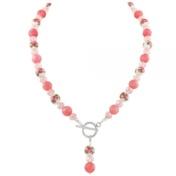 Captivation Coral Pink Floral Beaded Statement Necklace