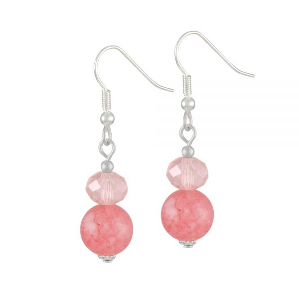 Captivation Coral Pink Silver Tone Drop Pierced Earrings