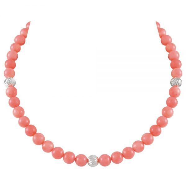 Debutante Coral Pink Semi Precious Beaded Silver Tone Necklace