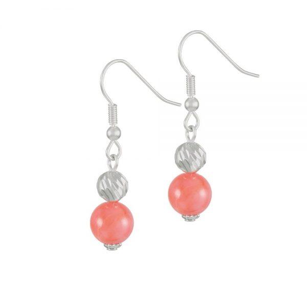 Debutante Coral Pink Semi Precious Silver Tone Drop Pierced Earrings