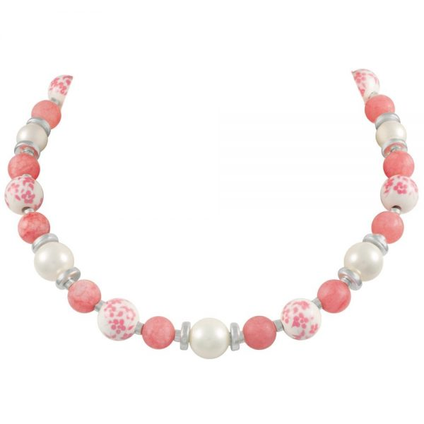 Meadow Coral Pink Floral Silver Tone Beaded Necklace