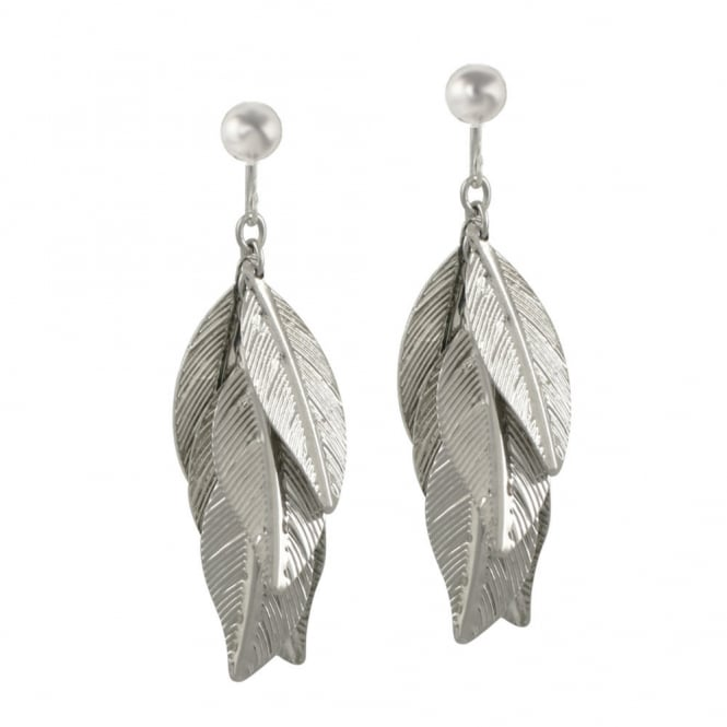 Abundance Leaves Silver Tone Drop Clip On Earrings