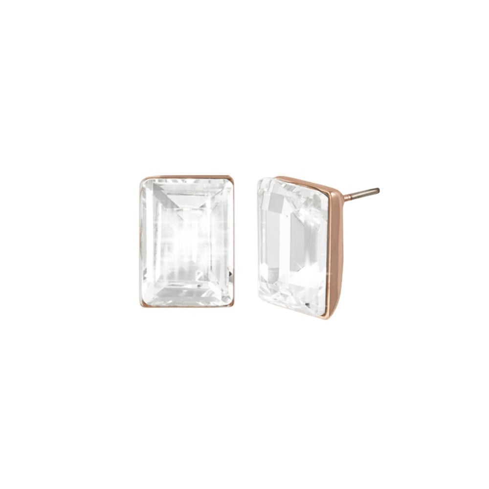 95d524959 Artemis Clear Crystal Rose Gold Tone Rectangle Stud Pierced Earrings