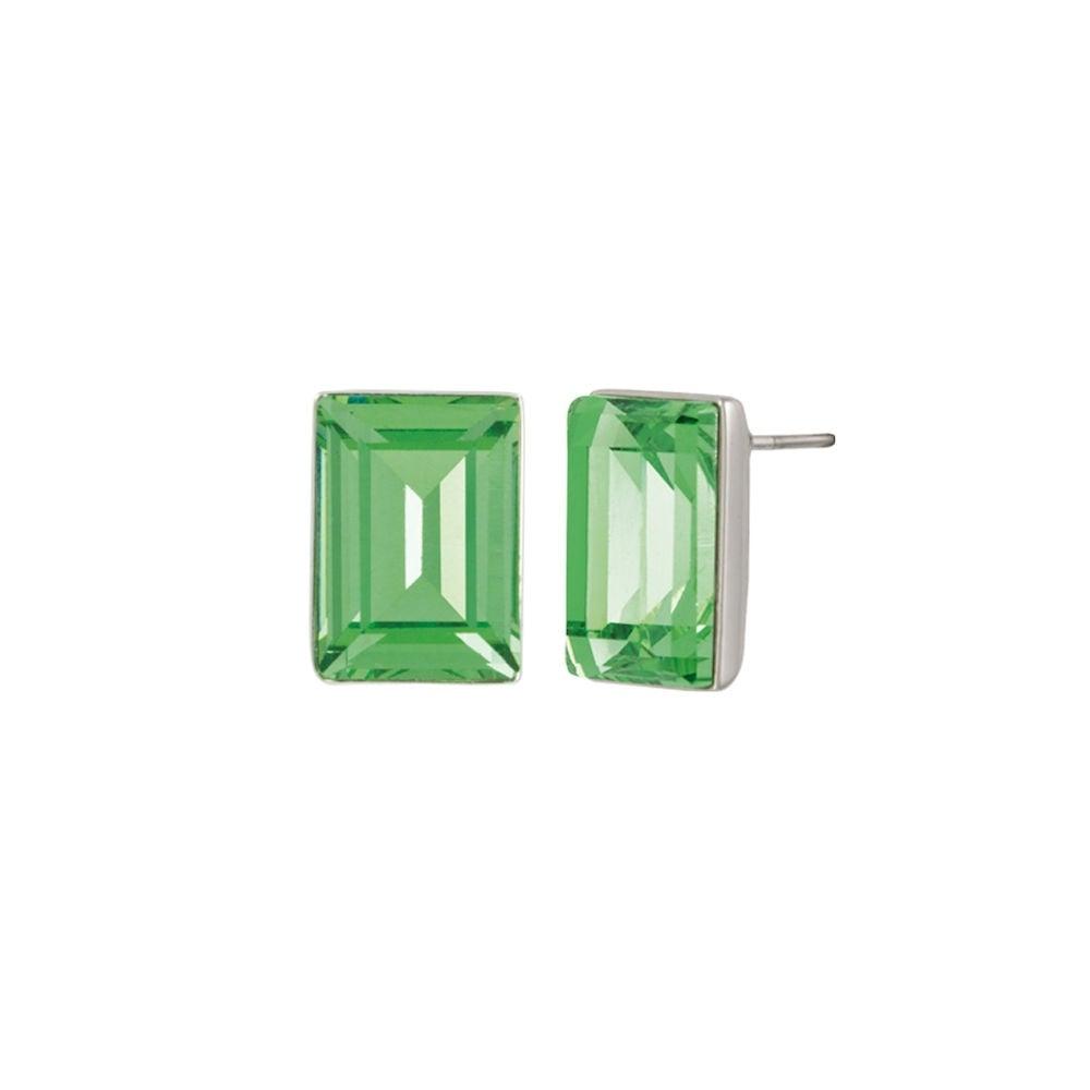 70b71f796 Artemis Peridot Crystal Silver Tone Rectangle Stud Pierced Earrings