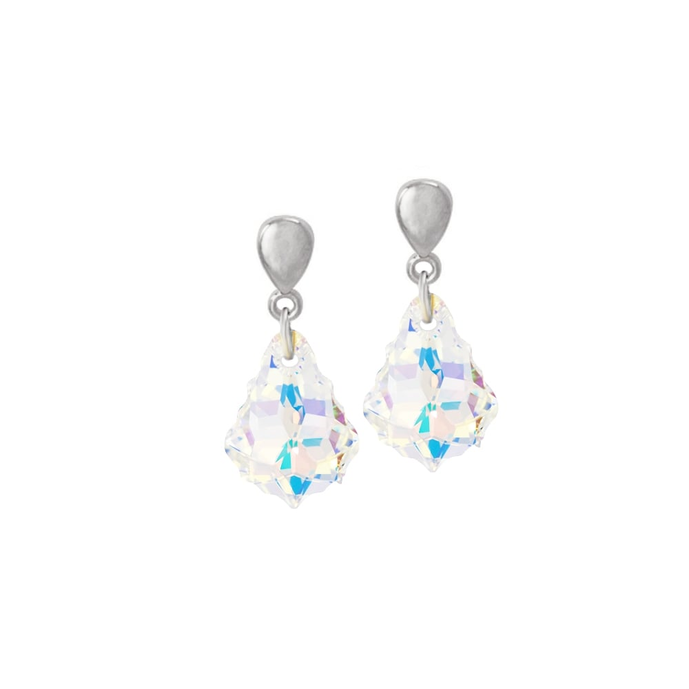 823bca00a9fb Baroque Aurora Borealis Austrian Crystal Silver Tone Drop Clip On Earrings
