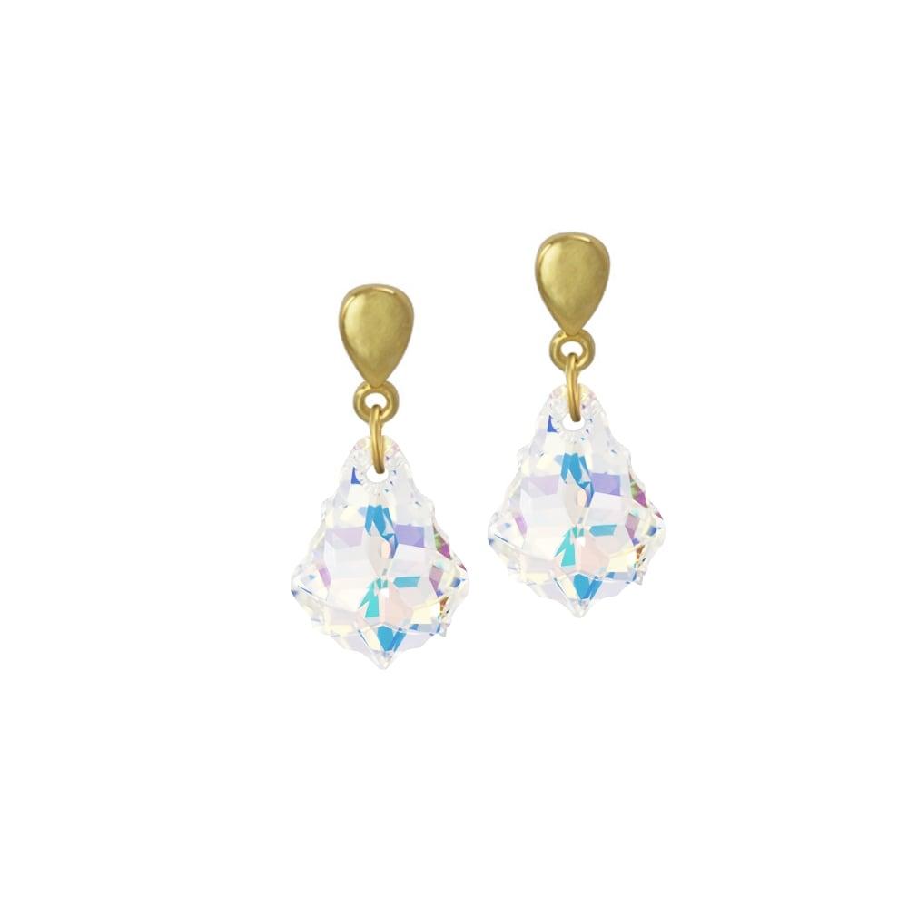 4daf750a4476 Baroque Aurora Borealis Swarovski Crystal Gold Tone Drop Pierced Earrings