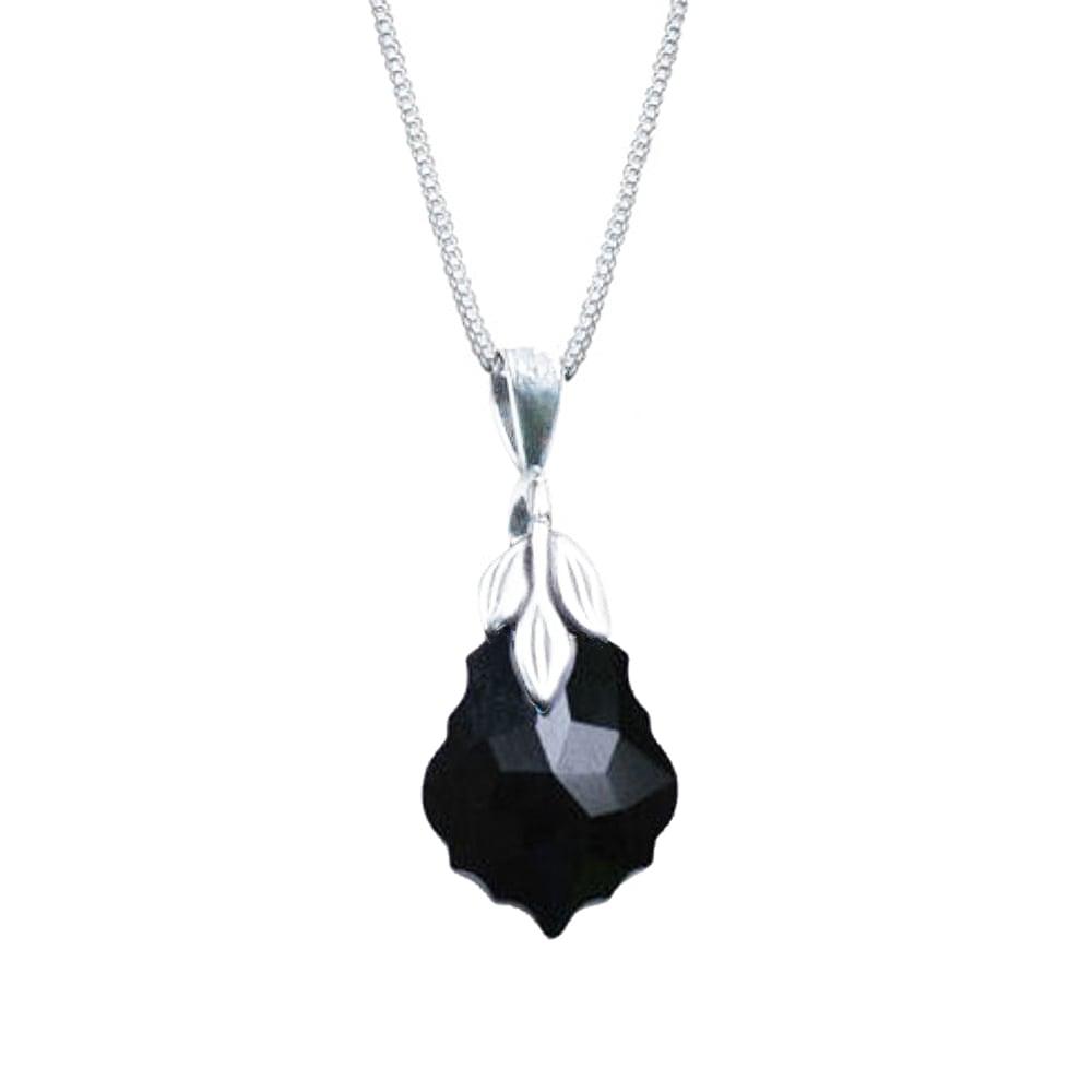 Baroque Jet Black Swarovski Crystal Sterling Silver Pendant Necklace 18474383d