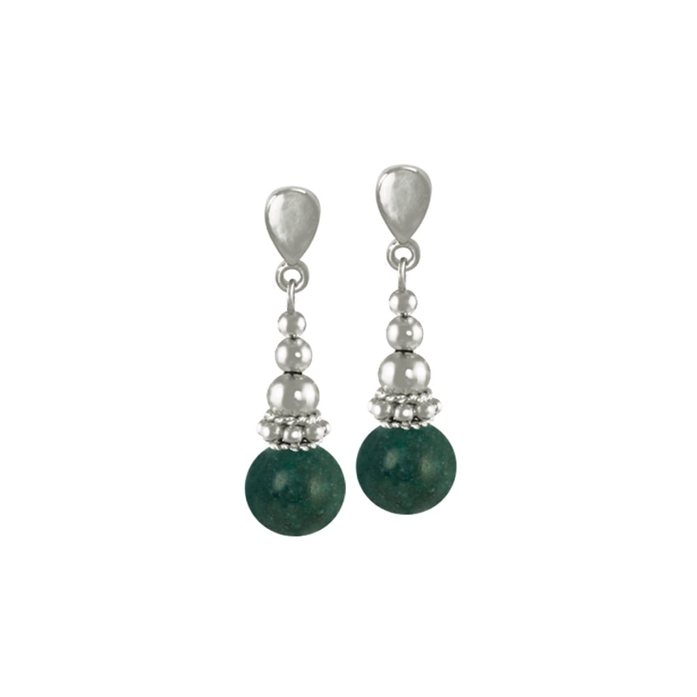 c644730f41140 Bella Dark Green Jade Gemstone Silver Tone Drop Pierced Earrings