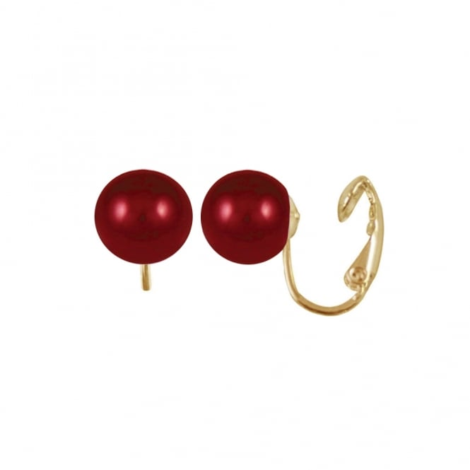 Belle Coral Red South Sea Shell Pearl Gold Tone Stud Clip On Earrings
