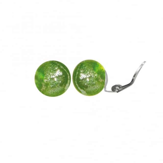 Bellissimo Peridot Silver Sparkler Murano Glass Close Fitting Stud Clip On Earrings