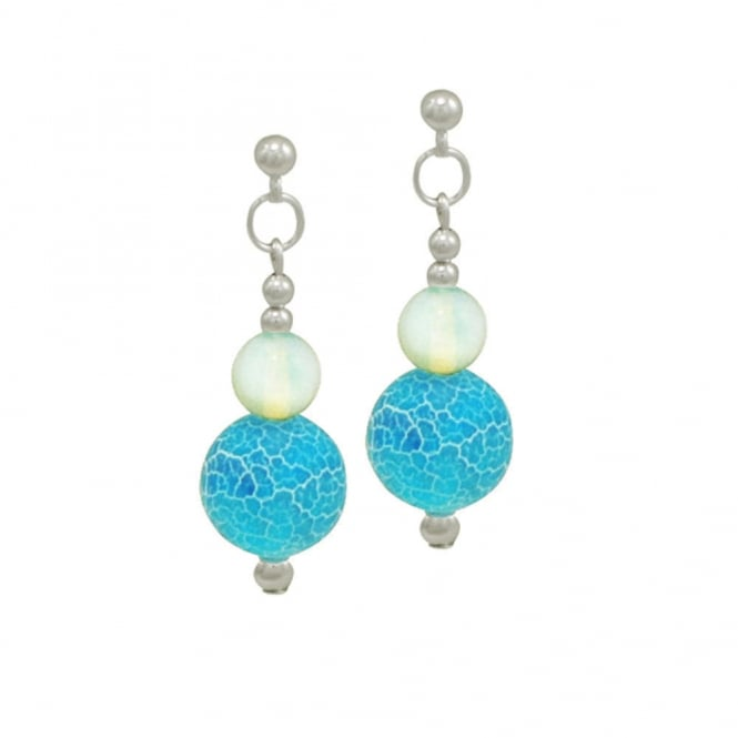 Brecon Beauty Blue Agate and Glass Silver Tone Drop Pierced Earrings