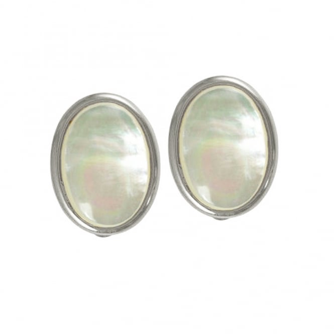 Cabochon Mother of Pearl Silver Tone Stud Clip On Earrings