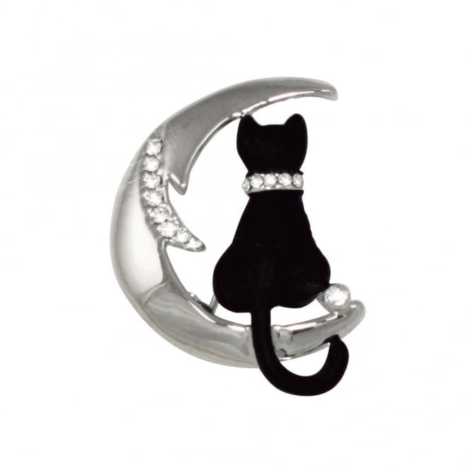 Cat On The Moon Swarovski Crystal and Enamel Silver Tone Brooch