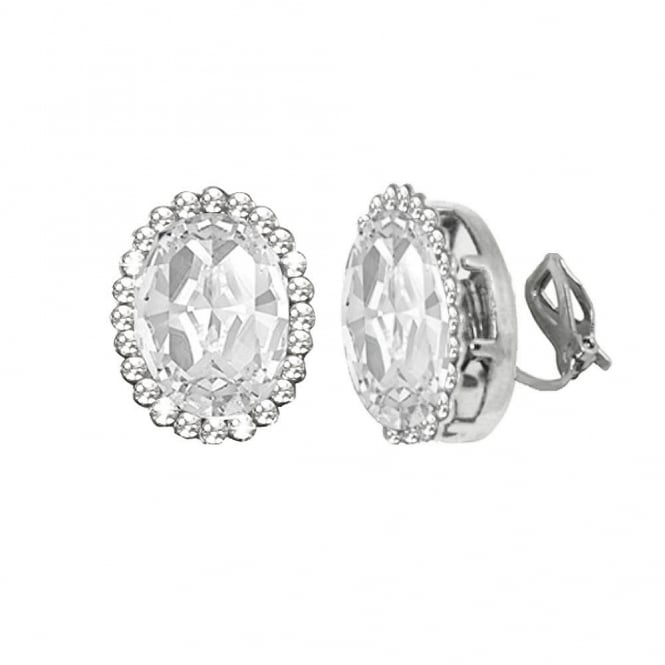 Countess Oval Clear Crystal Silver Tone Stud Clip On Earrings