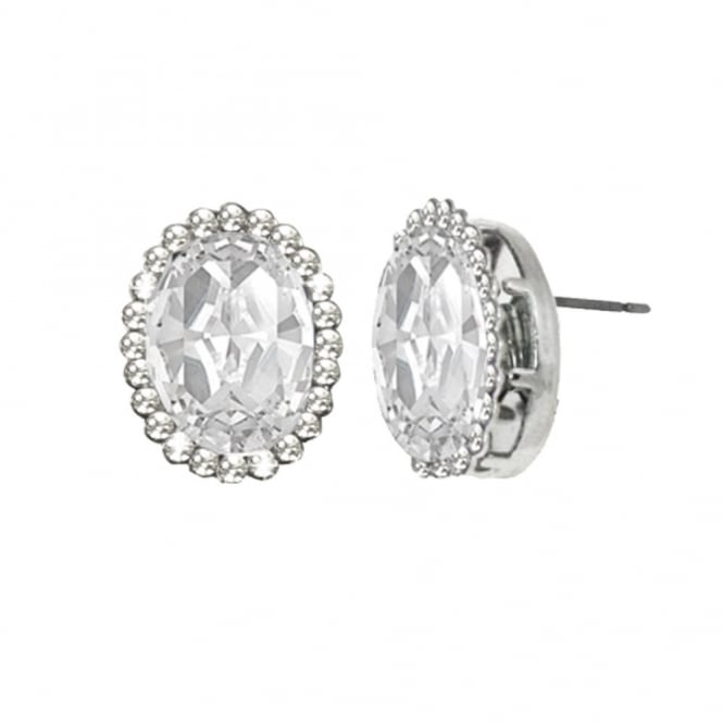 Countess Oval Clear Crystal Silver Tone Stud Pierced Earrings