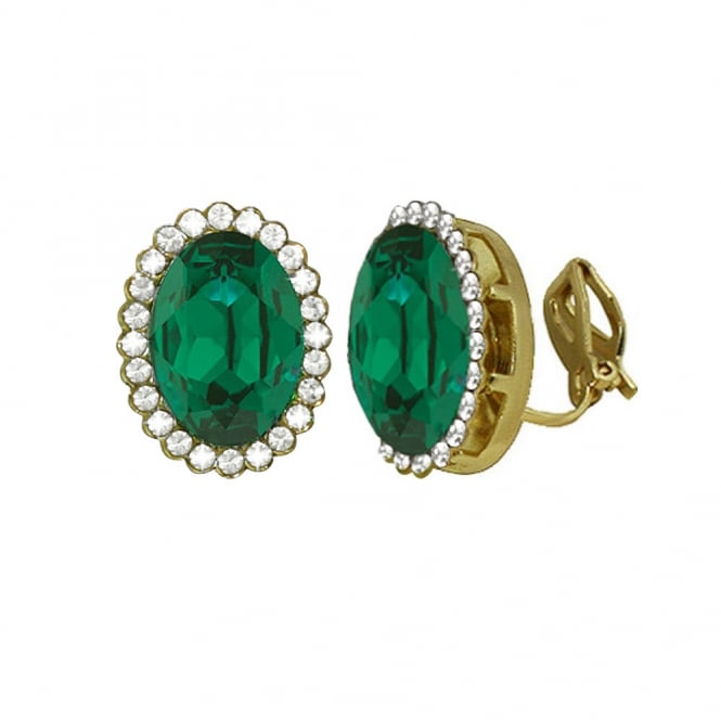 Countess Oval Emerald Green Crystal Gold Tone Stud Clip On Earrings