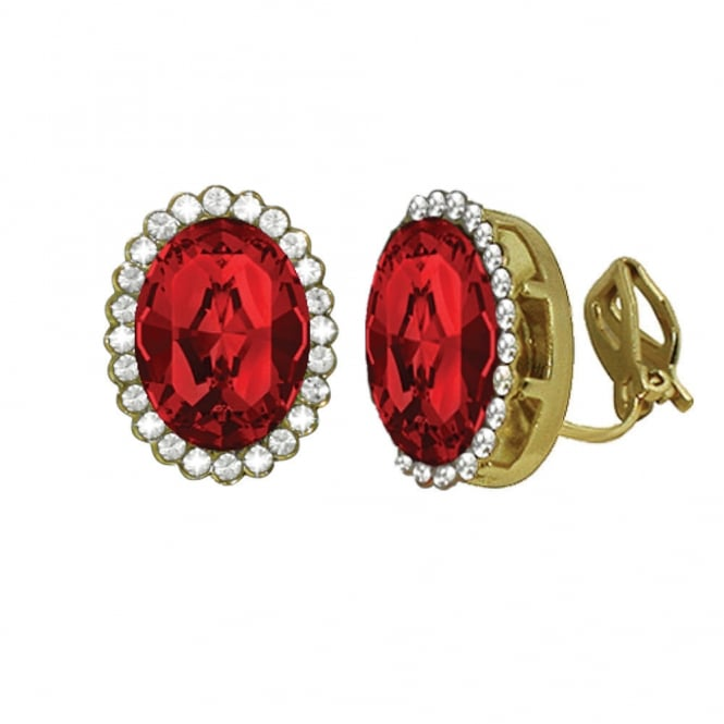 Countess Oval Light Siam Red Crystal Gold Tone Stud Clip On Earrings