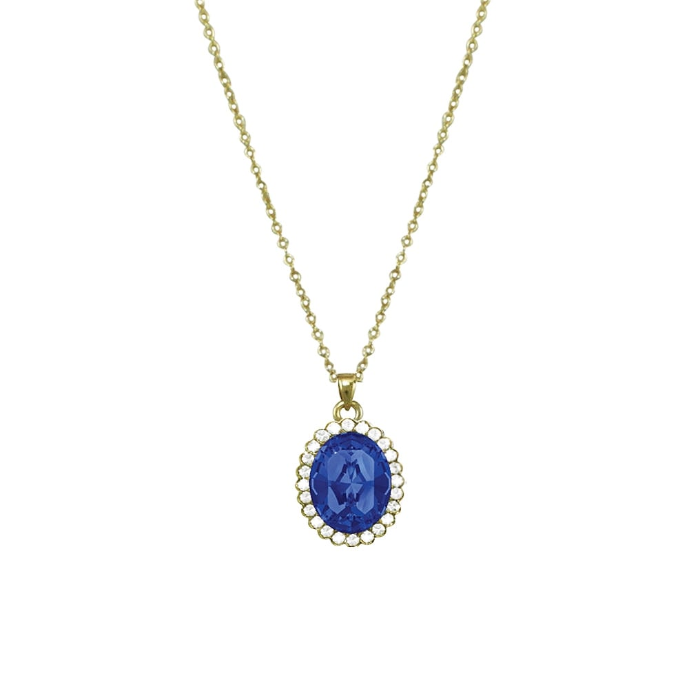 Countess Oval Sapphire Blue Crystal Gold Tone Pendant Necklace