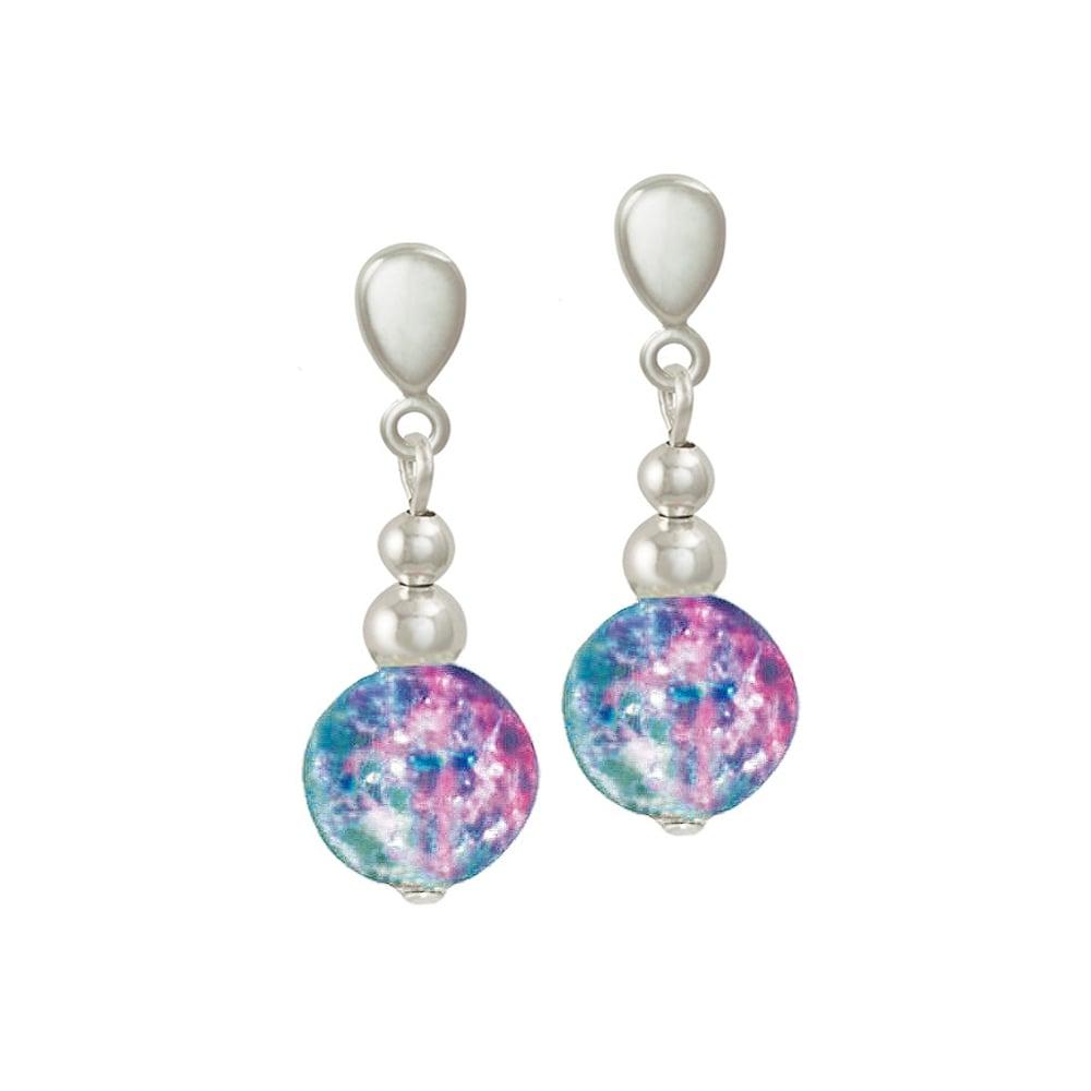 578d7ebdf Dominica Aqua and Pink Crackle Bead Silver Tone Drop Clip On Earrings