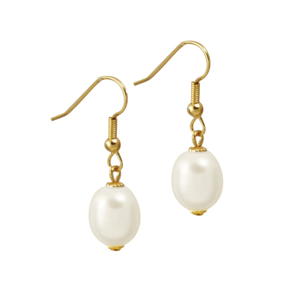 Doyenne AAA White Freshwater Pearl Gold Filled Drop Pierced Earrings With Gift Box VA42A