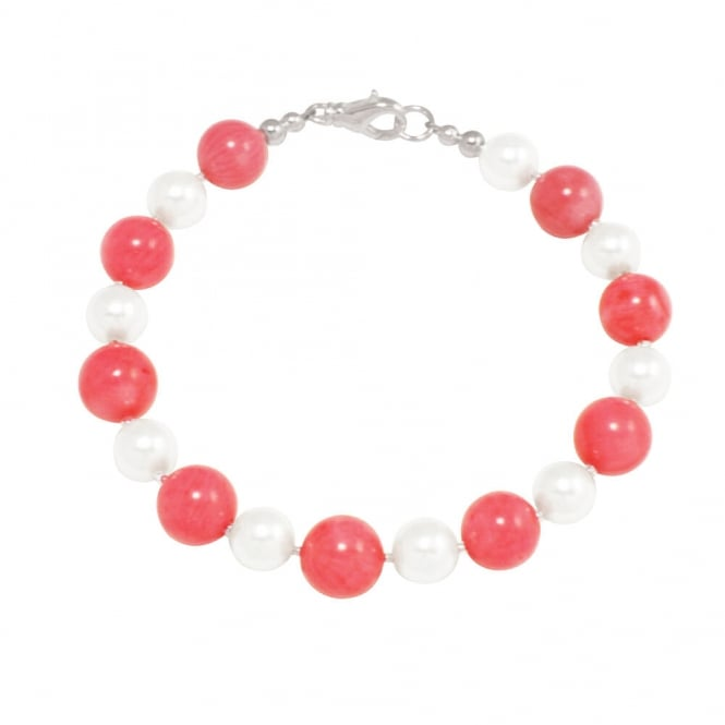 Duet Coral and Shell Pearl Silver Tone Bracelet