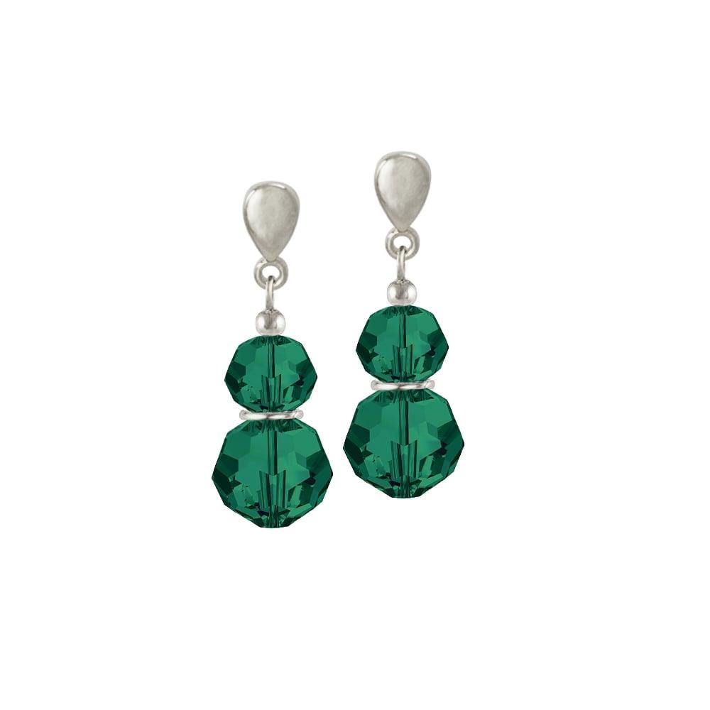 58d099b69 Echo Emerald Green Austrian Crystal Silver Tone Drop Clip On Earrings