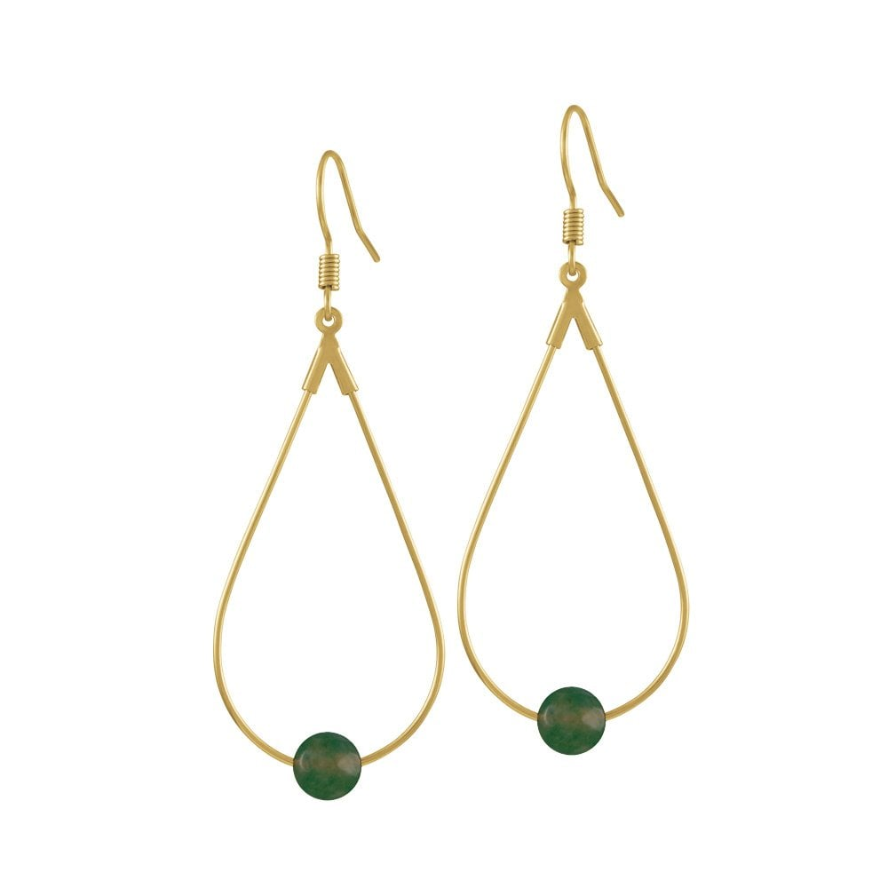 2f5e0e88b5115 Eclectic Dark Green Agate Gold Tone Drop Teardrop Pierced Earrings