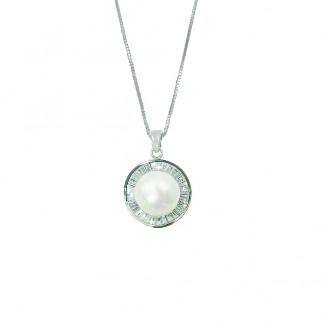 Eminence AAA Freshwater Pearl and Cubic Zirconia Sterling Silver Pendant Necklace