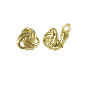 Entwined Gold Tone Classic Stud Clip On Earrings