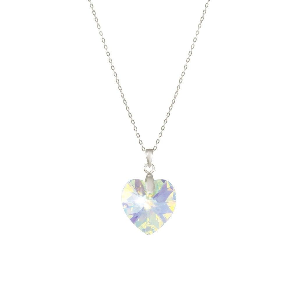 30991e8de Amour Aurora Borealis Swarovski Crystal Heart Sterling Silver Pendant