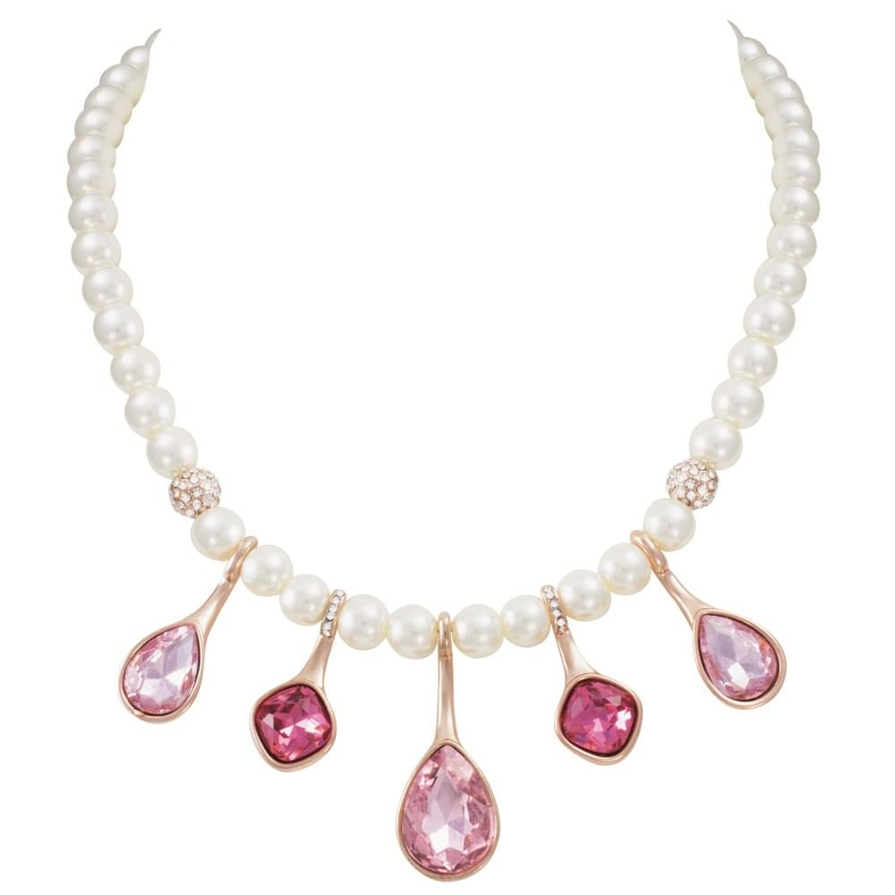 3554c7ce8b936 Angelique Pink Crystal and Faux Pearl Rose Gold Tone Statement Necklace