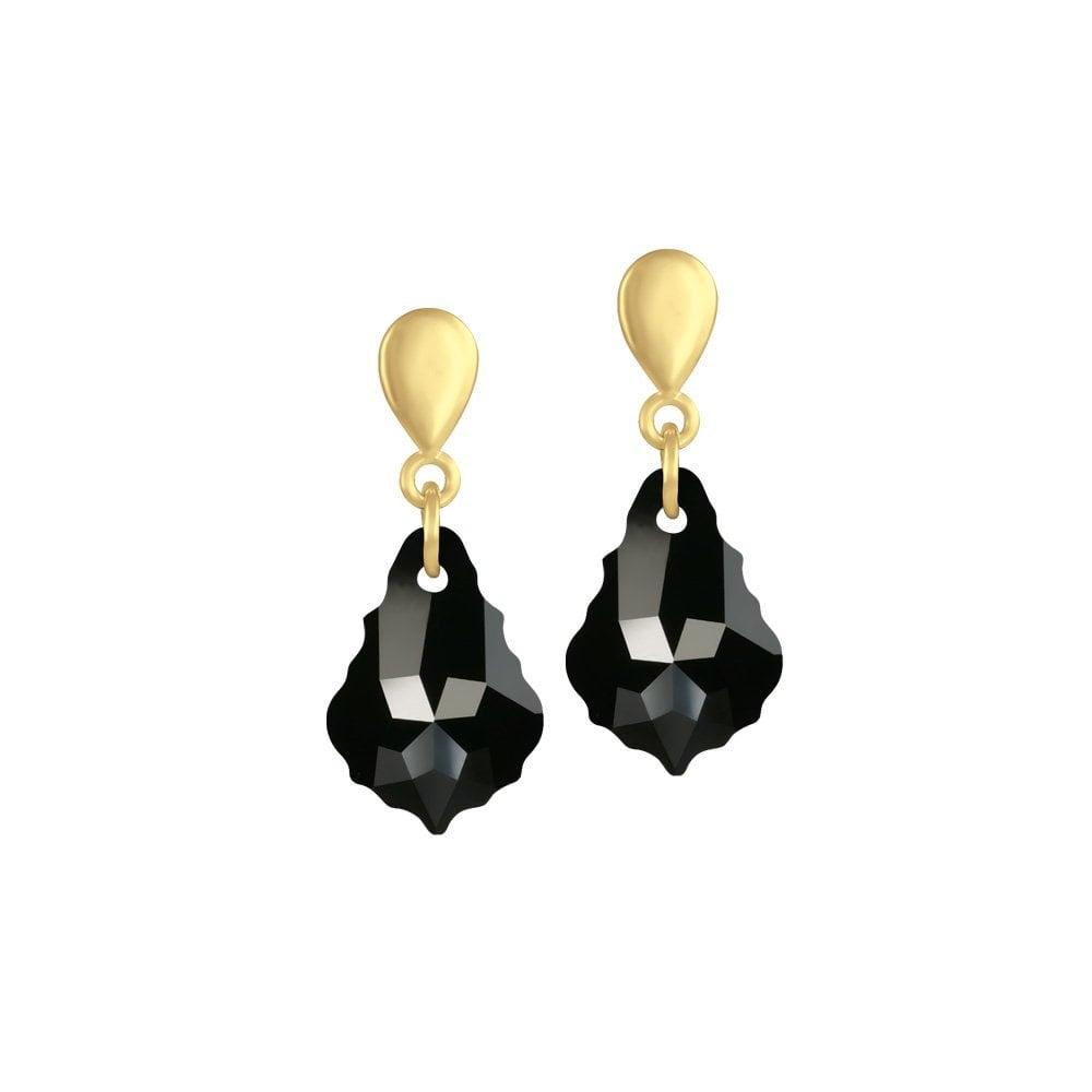 346bed341384f Baroque Jet Black Austrian Crystal Gold Tone Drop Clip On Earrings