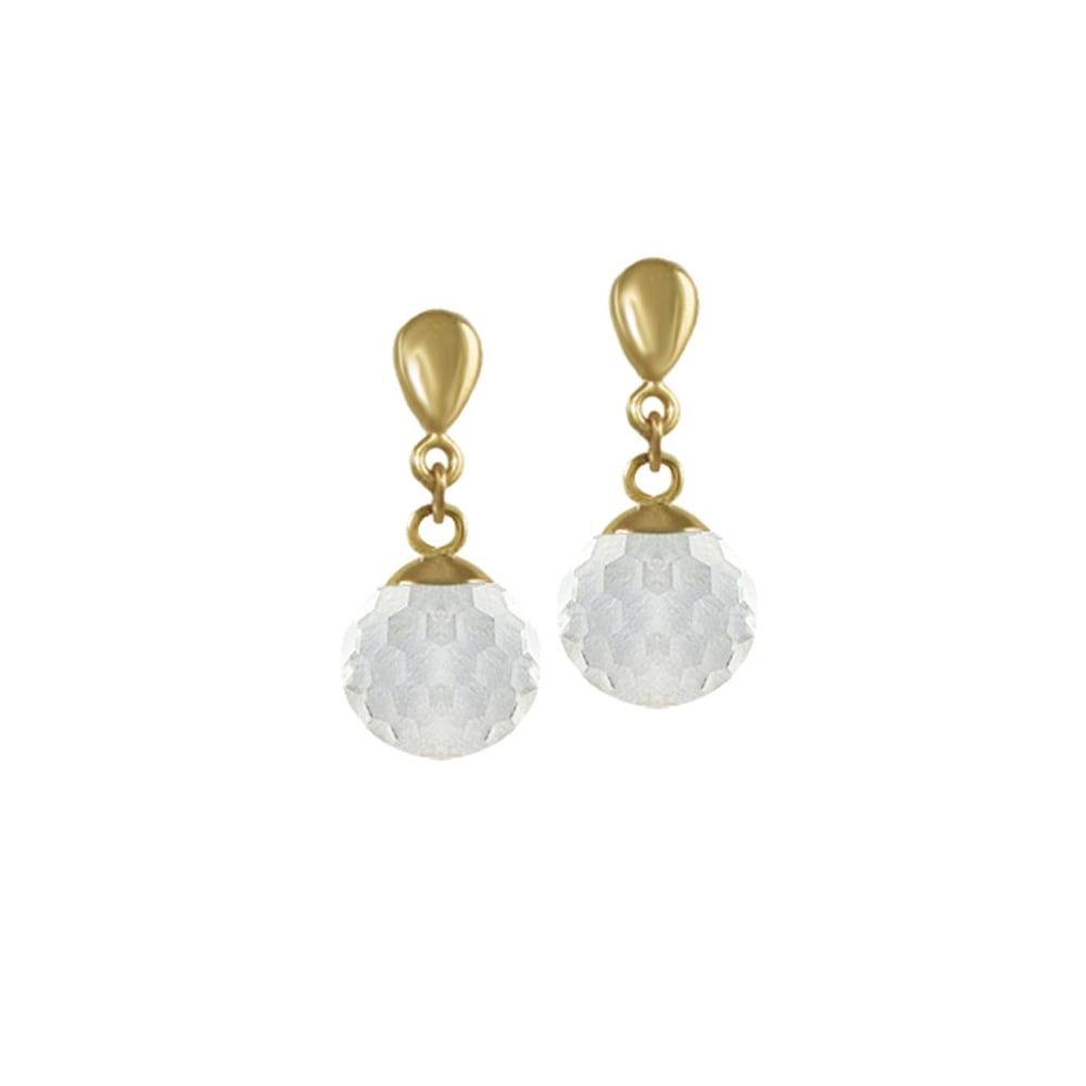 5c227f8e33d1f Belgravia Crystal Disco Ball Gold Tone Stainless Steel Drop Clip On Earrings
