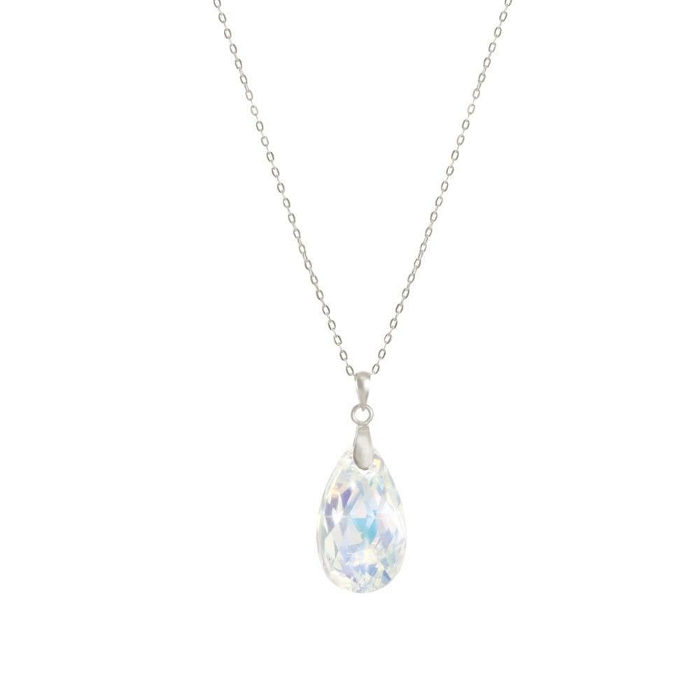 474e16bab Brilliance Aurora Borealis Peardrop Austrian Crystal Sterling Silver Pendant