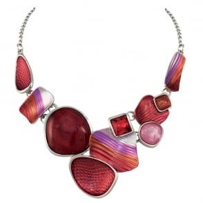 Jasmine Orange Multi Enamel and Crystal Silver Tone Statement Necklace