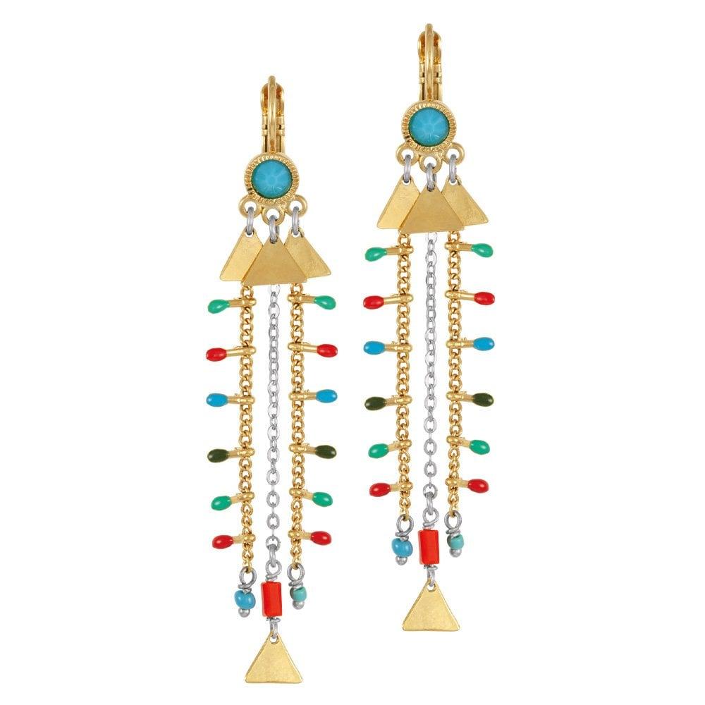 66512ce4b4b31 Clemence Multi Enamel Gold Tone Beaded Drop Pierced Earrings