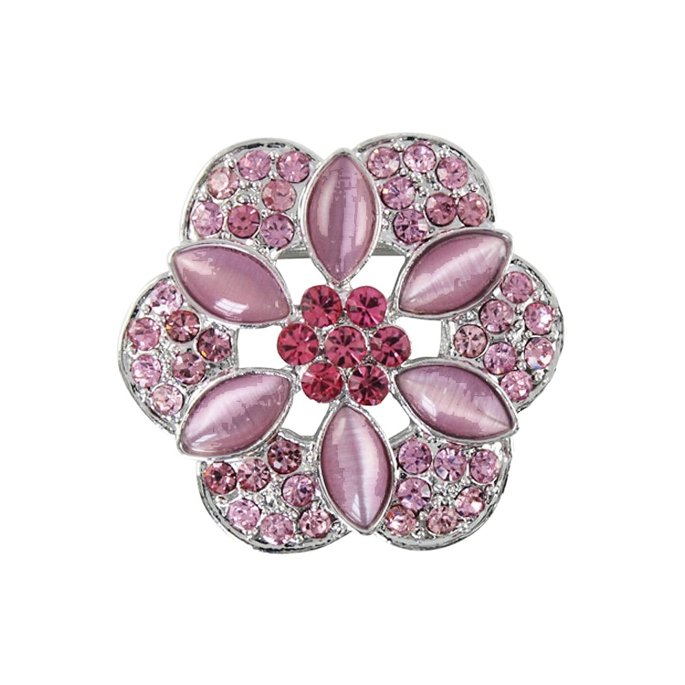 Floral Passions Rose Pink Crystal Scarf Clip